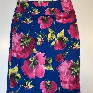 LULAROE women's Pencil Skirt Sz XL Pink flowers